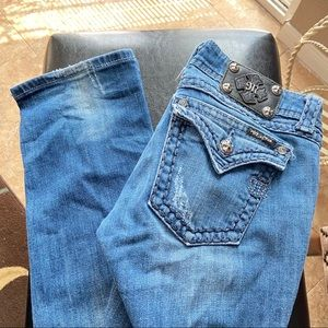 MISS ME Blue Stitching Straight Leg Blue Jeans